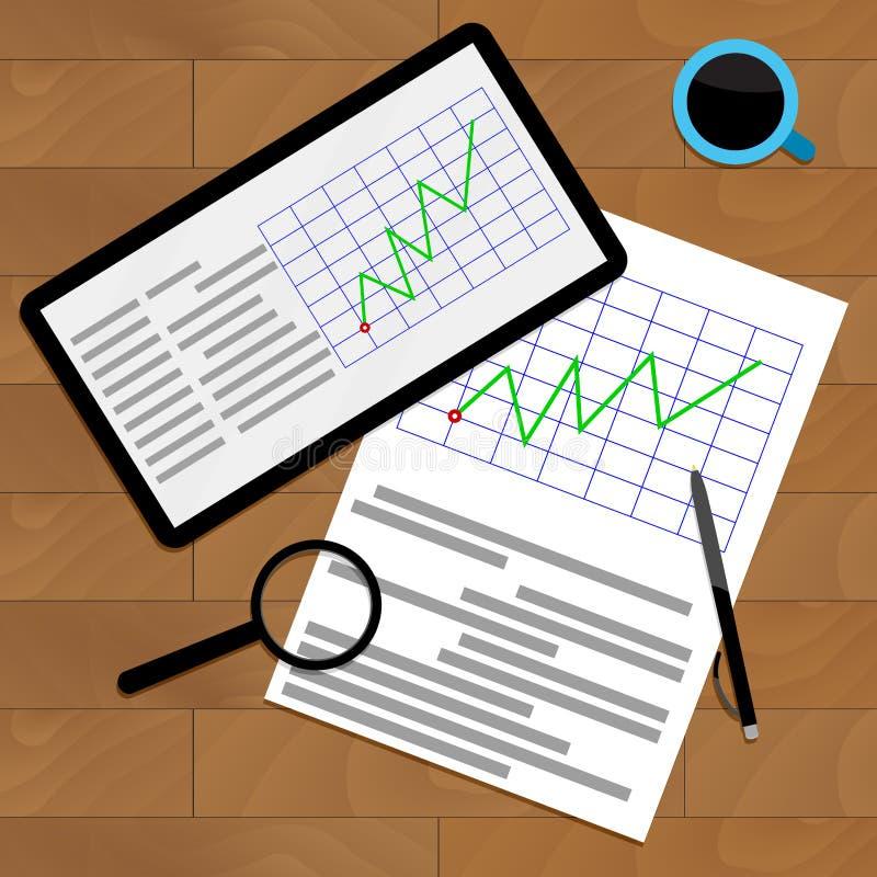 Ekonomiczna grafika na biurku royalty ilustracja