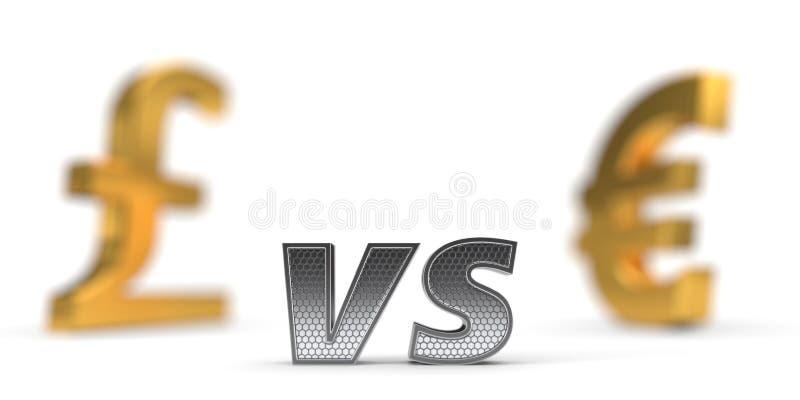 Ekonomicznej wojny pojęcie Funt versus euro ilustracja 3 d ilustracja wektor