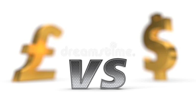 Ekonomicznej wojny pojęcie versus dolara funt ilustracja 3 d royalty ilustracja