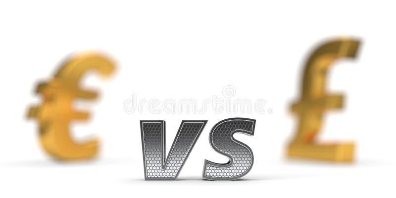 Ekonomicznej wojny pojęcie versus euro funt ilustracja 3 d ilustracja wektor