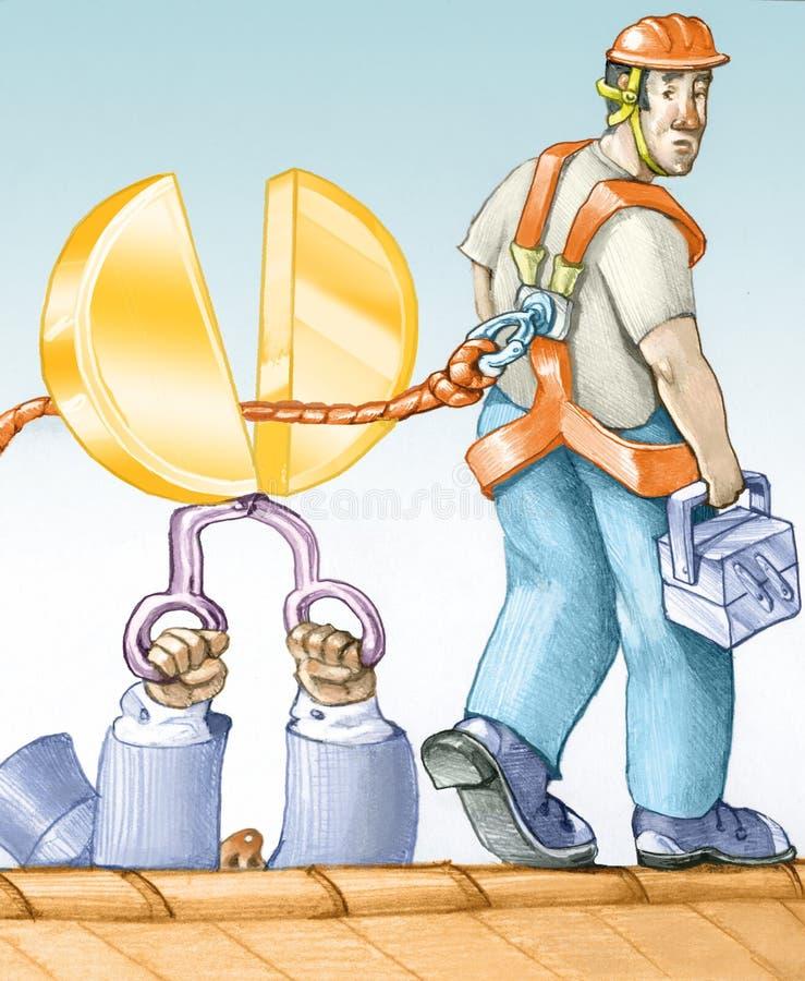 Ekonomiczni cięcia na bezpieczeństwie na pracie royalty ilustracja