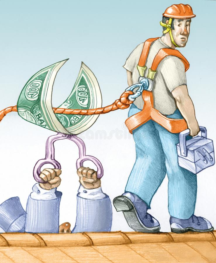 Ekonomiczni cięcia na bezpieczeństwie na pracie ilustracja wektor
