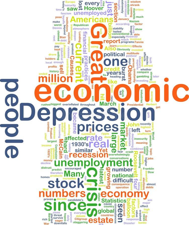 ekonomiczny depresji wordcloud ilustracji