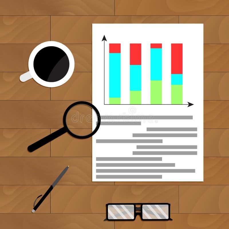 Ekonomiczny grafika raport ilustracja wektor