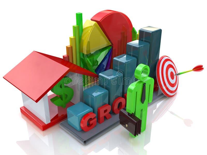 Ekonomiczny przyrost w biznesowej scenie royalty ilustracja