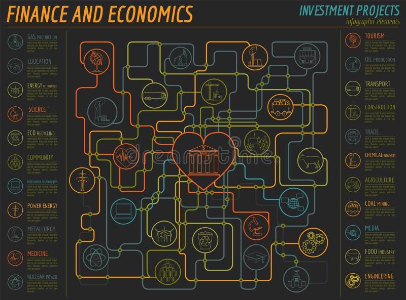 Ekonomie i finanse infographic Inwestorscy projekty banki ilustracja wektor