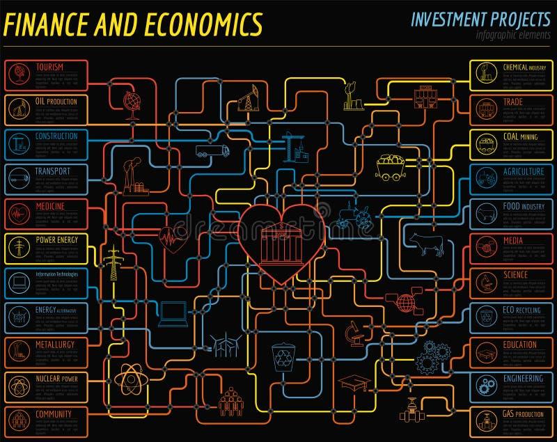 Ekonomie i finanse infographic Inwestorscy projekty banki royalty ilustracja