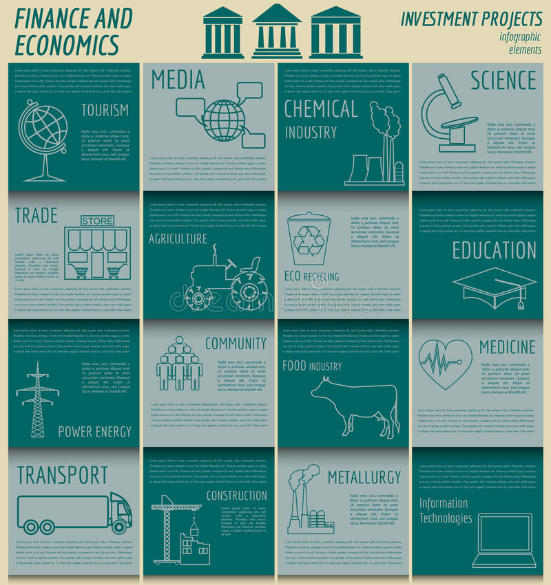Ekonomie i finanse infographic Inwestorscy projekty banki e ilustracja wektor