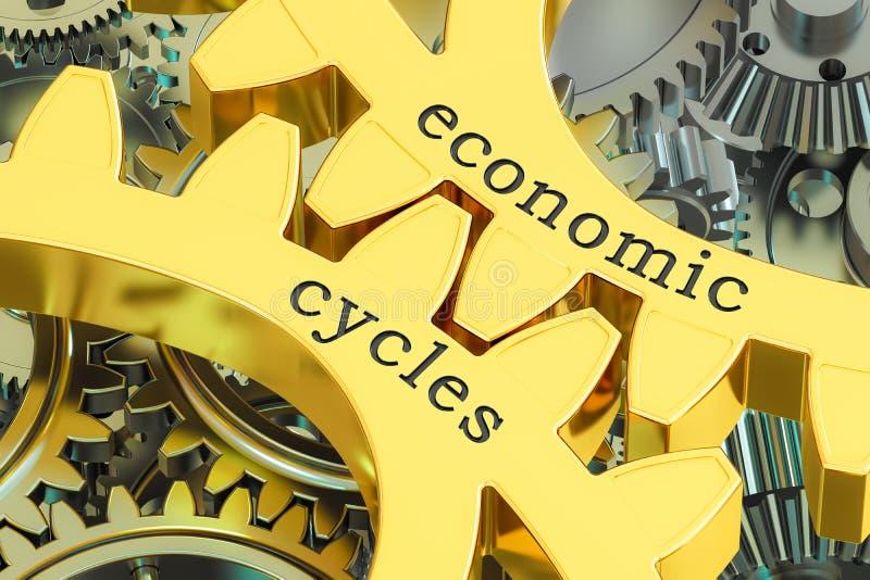 Ekonomie Jeździć na rowerze pojęcie na gearwheels, 3D rendering ilustracji