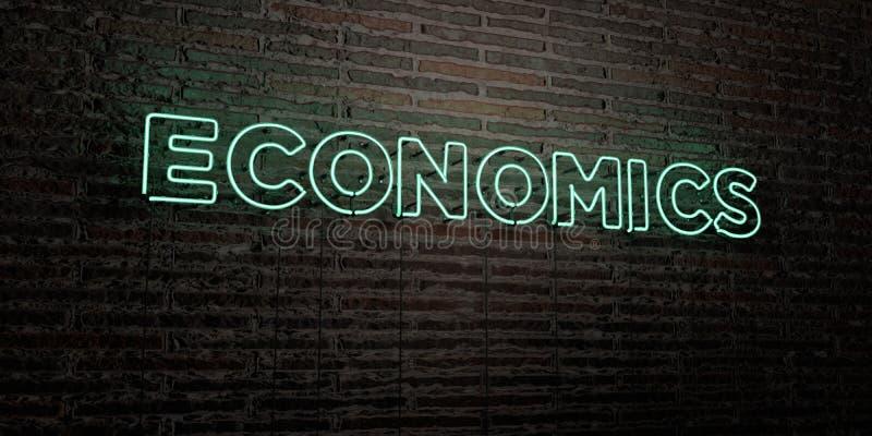 EKONOMIE - Realistyczny Neonowy znak na ściana z cegieł tle - 3D odpłacający się królewskość bezpłatny akcyjny wizerunek ilustracji