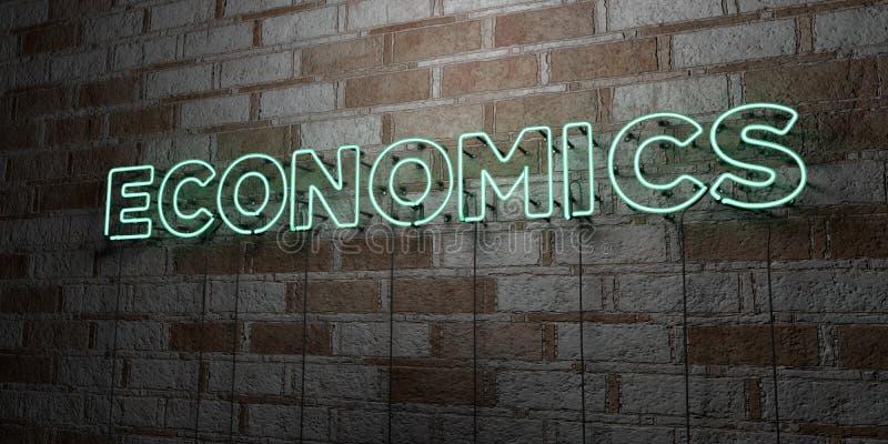 EKONOMIE - Rozjarzony Neonowy znak na kamieniarki ścianie - 3D odpłacająca się królewskości bezpłatna akcyjna ilustracja ilustracja wektor