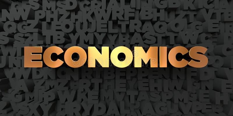 Ekonomie - Złocisty tekst na czarnym tle - 3D odpłacający się królewskość bezpłatny akcyjny obrazek royalty ilustracja