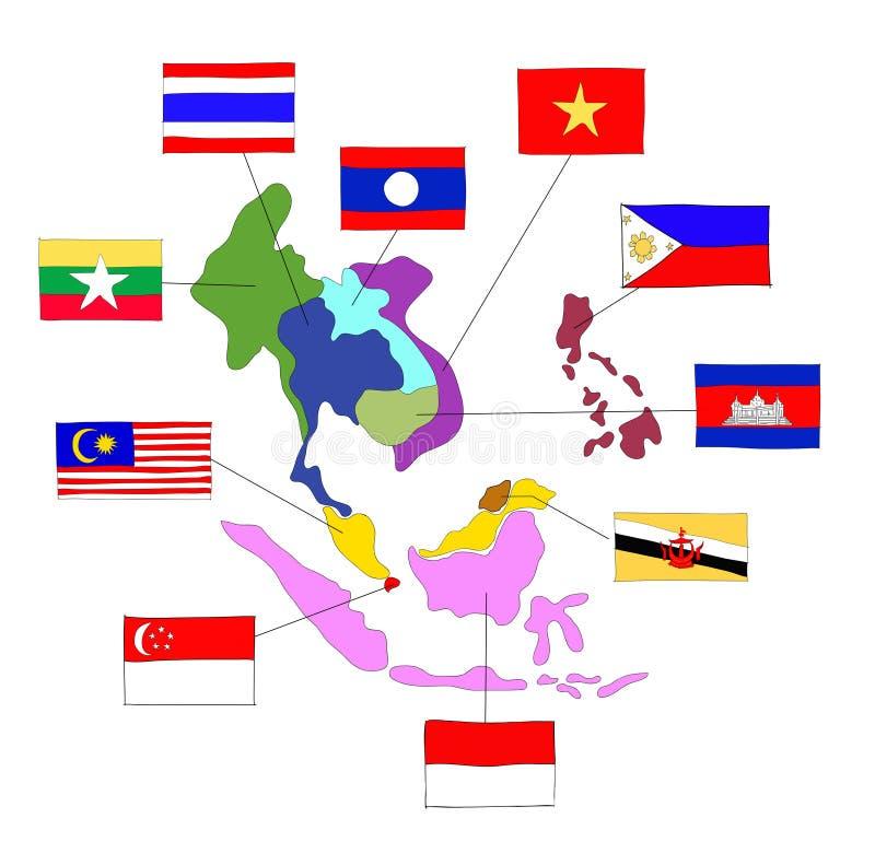Ekonomisk gemenskap för ASEAN, AEC vektor illustrationer