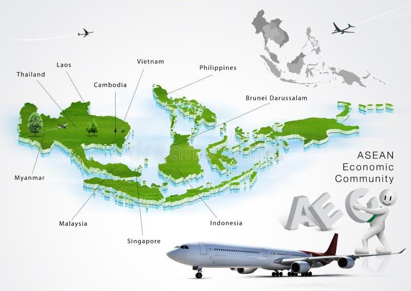 Ekonomisk gemenskap för ASEAN, AEC royaltyfri illustrationer
