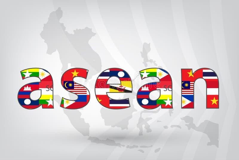 Ekonomisk gemenskap för ASEAN (AEC) med översikten i vektorstil royaltyfri illustrationer