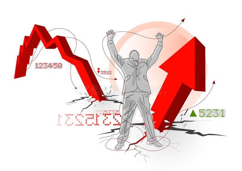 ekonomisk global återställning royaltyfri illustrationer