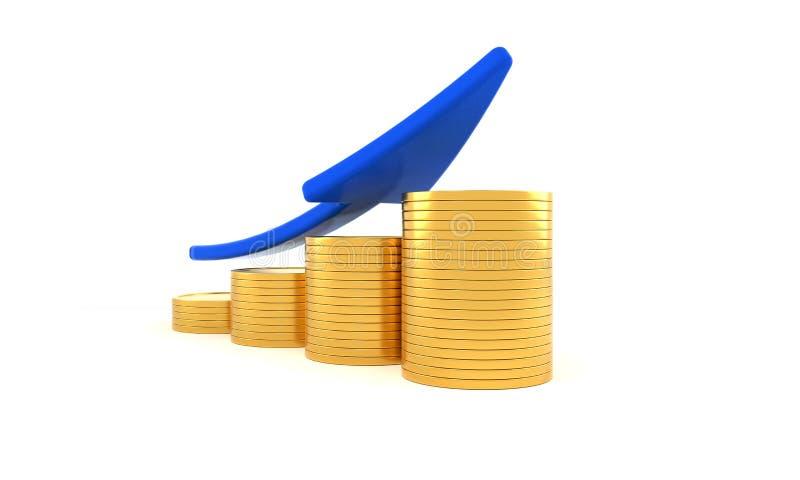 Ekonomisk tillväxtbegrepp, tolkning 3d royaltyfri illustrationer