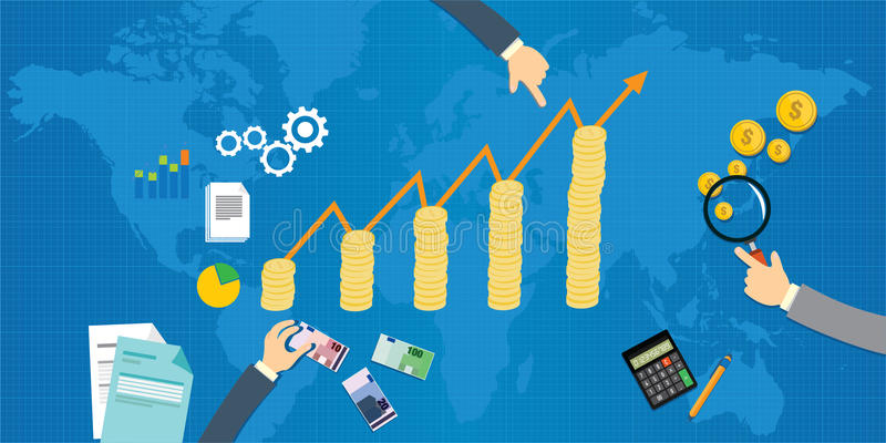 Ekonomisk tillväxtbruttonationalprodukt royaltyfri illustrationer