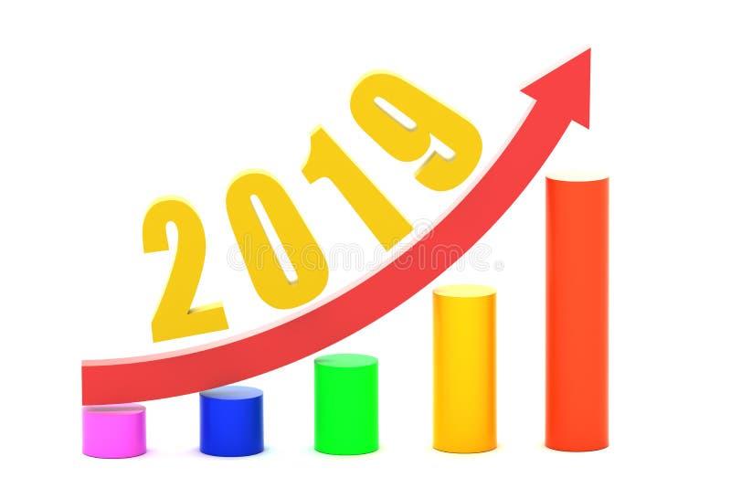 Ekonomisk tillväxtgraf i 2019 royaltyfri illustrationer