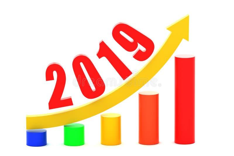 Ekonomisk tillväxtgraf i 2019 stock illustrationer