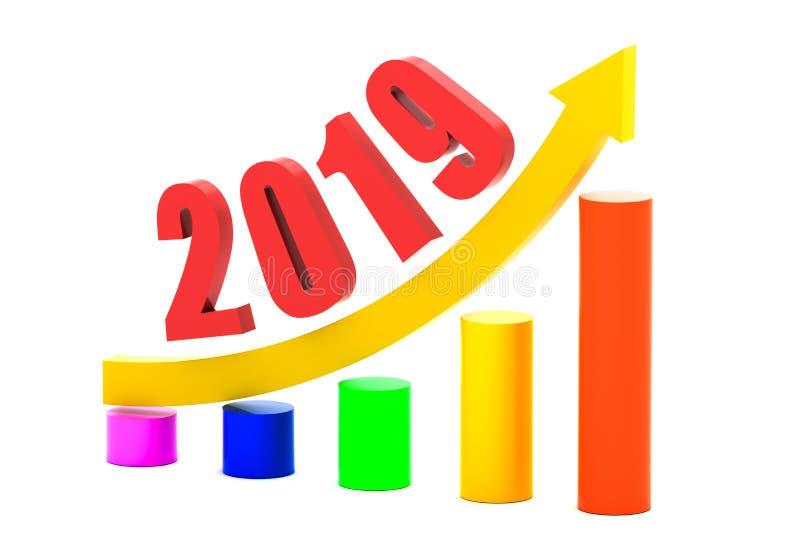 Ekonomisk tillväxtgraf i 2019 vektor illustrationer