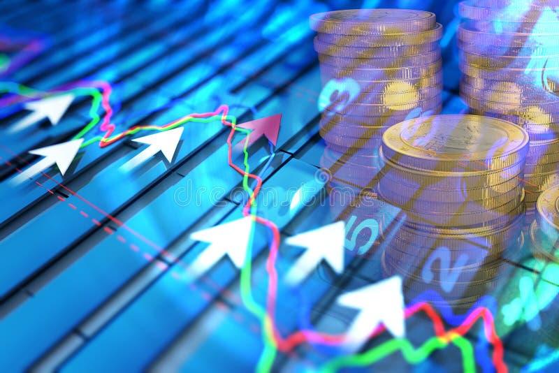 Ekonomiska indikatorer och flyttar sig framåtriktat med pilen stock illustrationer