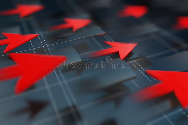 Ekonomiska indikatorer och flyttar sig framåtriktat med pilen royaltyfri illustrationer