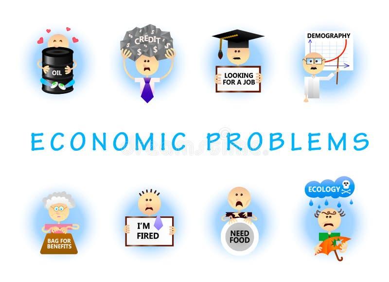 Ekonomiska problem sänker uppsättningen royaltyfri illustrationer