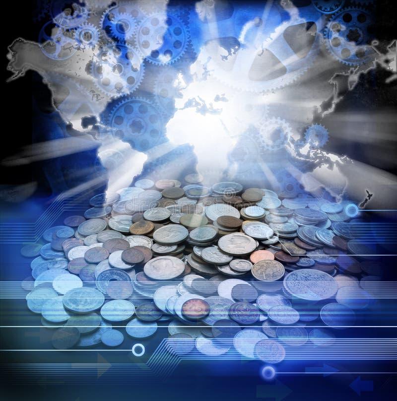 Ekonomiska världskartapengar royaltyfri fotografi