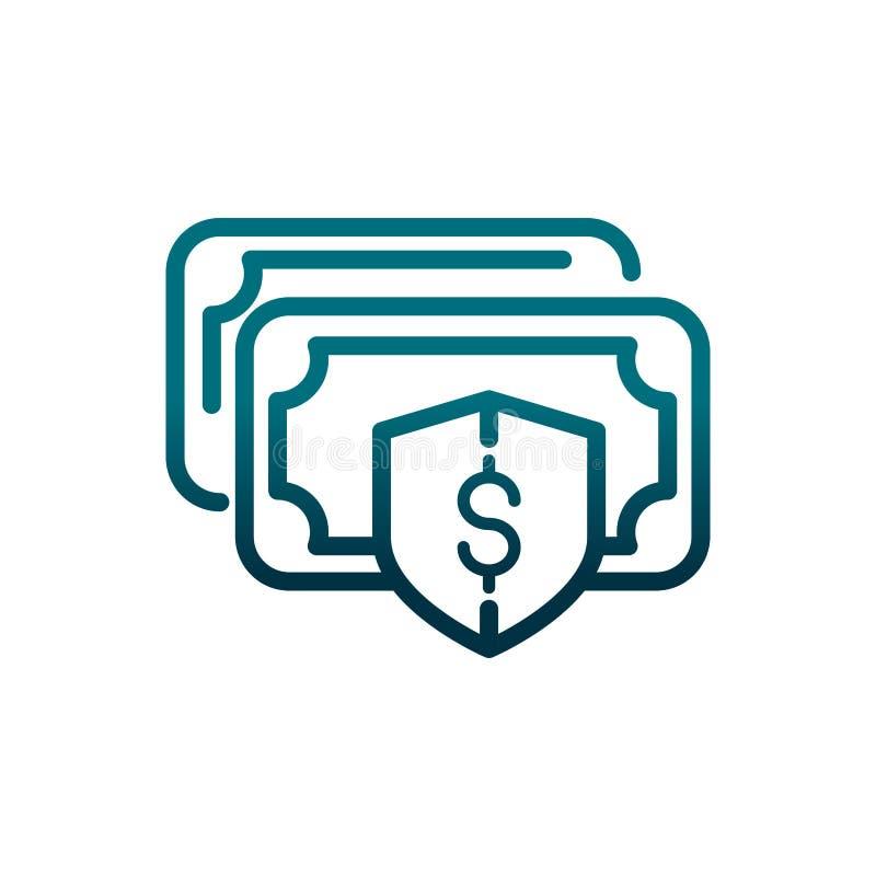Ekonomiskt banksedelskydd sparar gradientrad stock illustrationer