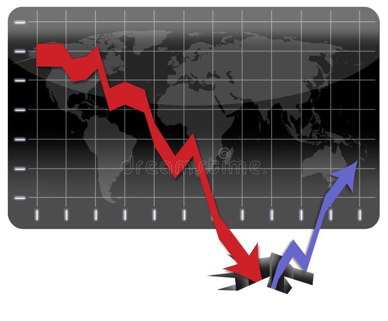 ekonomiskt globalt återställa för kris stock illustrationer