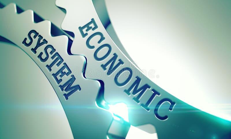 Ekonomiskt system - mekanism av skinande metallkuggekugghjul 3d vektor illustrationer