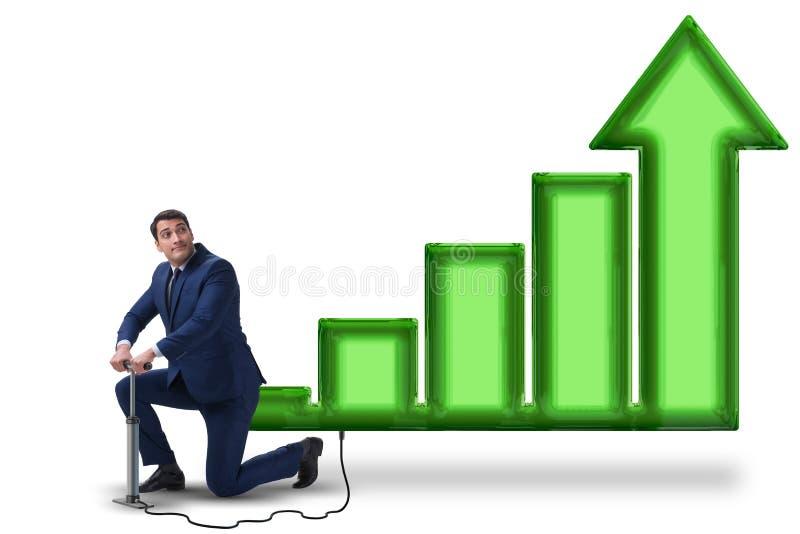 Ekonomista pompuje ekonomicznego przyrosta w gospodarce na białym tle obraz stock