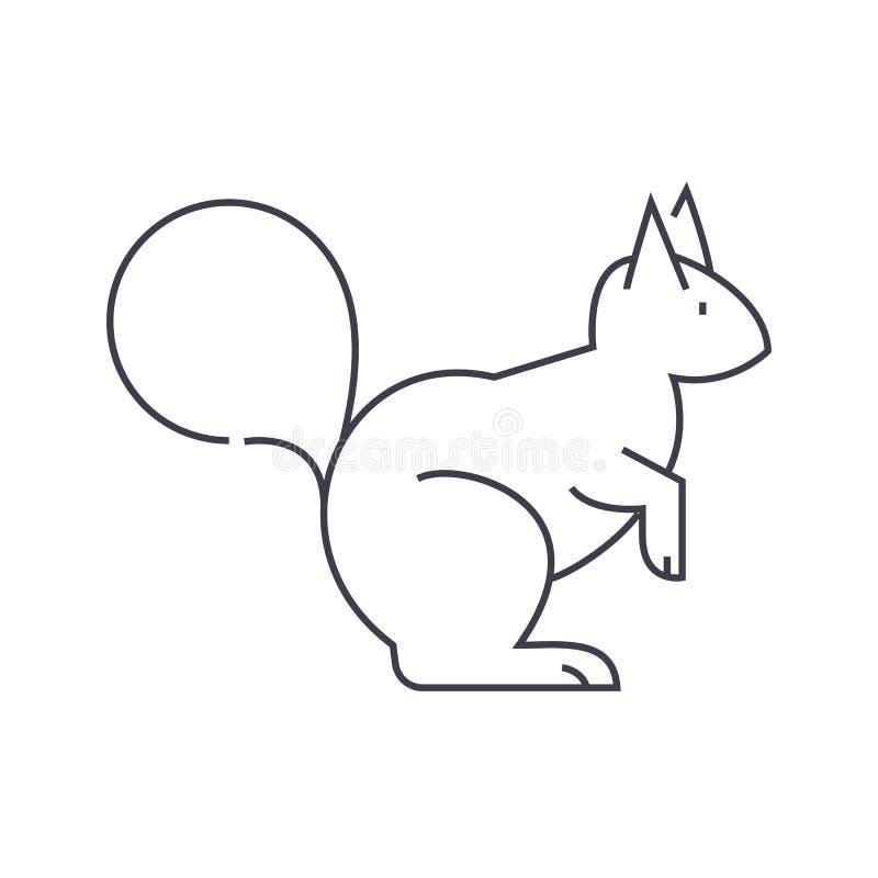 Ekorrevektorlinje symbol, tecken, illustration på bakgrund, redigerbara slaglängder stock illustrationer
