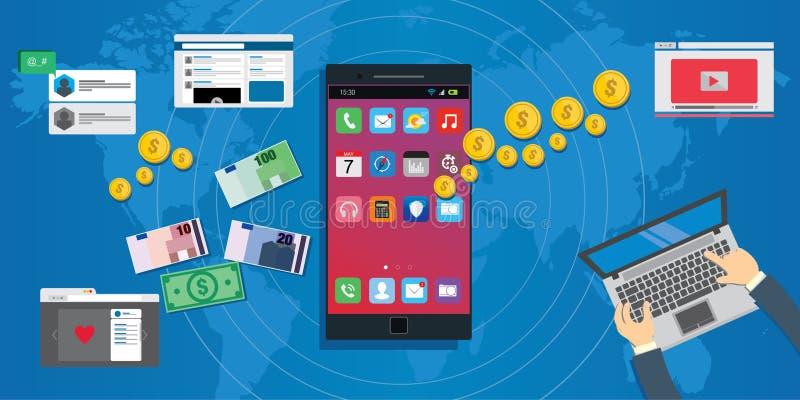 Ekosystem för utveckling för applikation för Apps ekonomi mobilt stock illustrationer