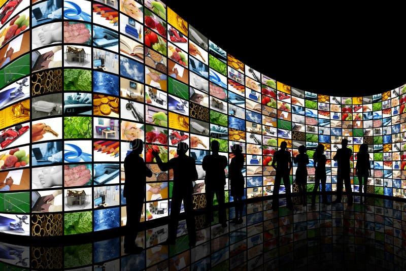 ekran ścian przyglądający ludzie ilustracja wektor