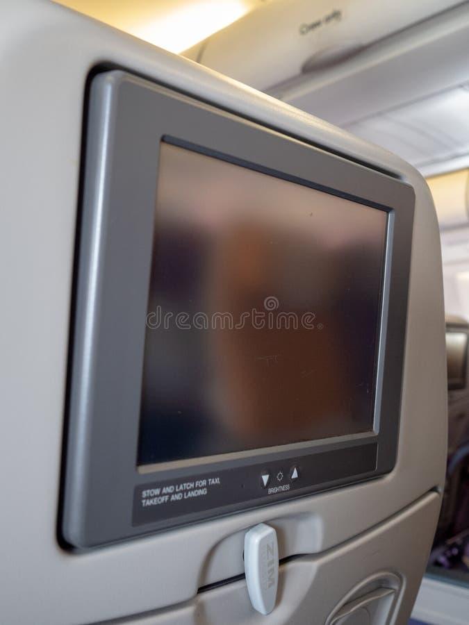 Ekran dla pasażera w samolocie zdjęcia royalty free
