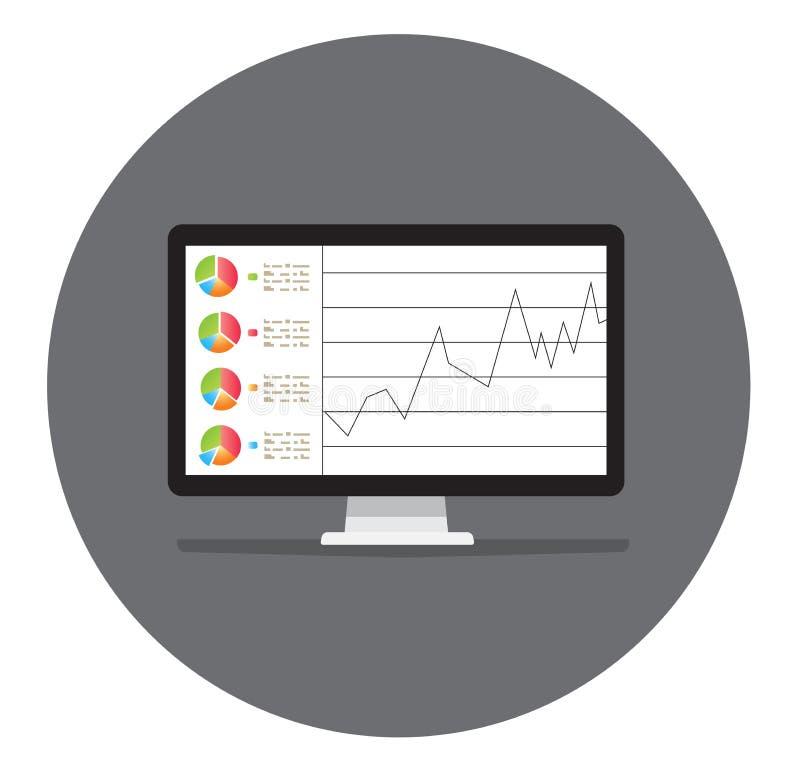 Ekran komputerowy, laptop, mądrze telefonów ekrany z pieniężnymi mapami i wykresy, ilustracja wektor