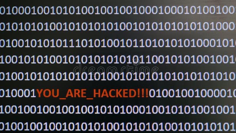 Ekran komputerowy strzelał z binarnym kodem, ostrzegawczym tekst, pojęcie dla komputeru, technologia i online ochrona, zdjęcia royalty free