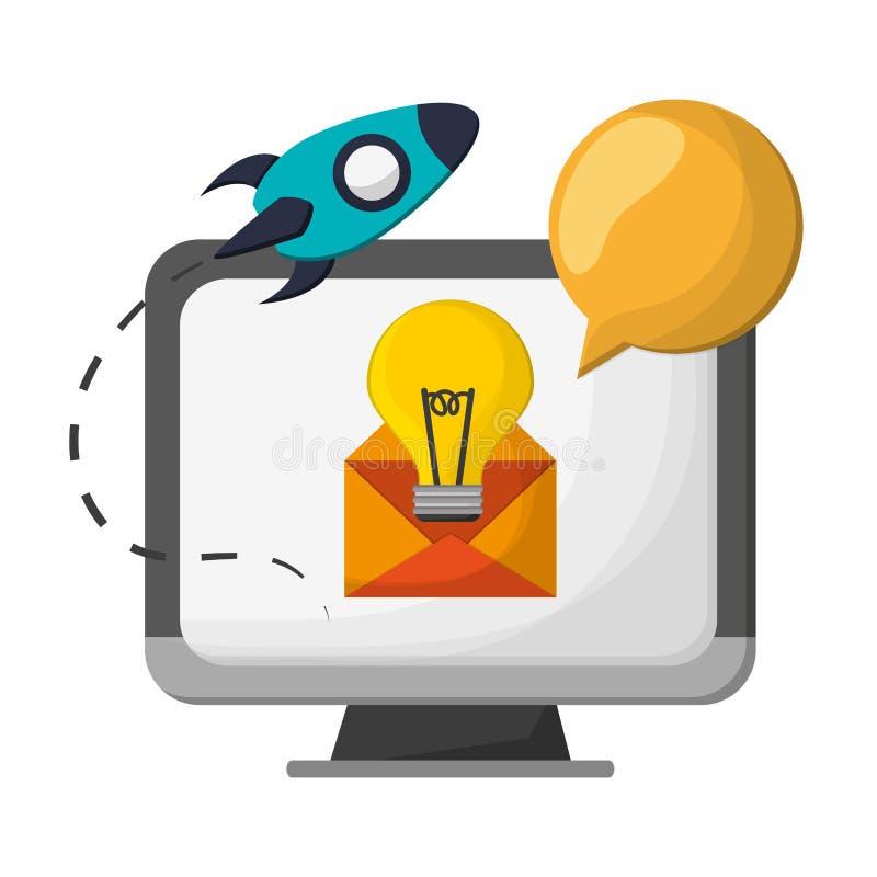 Ekran komputerowy z dużym pomysłem w emailu i zaczyna w górę ilustracji