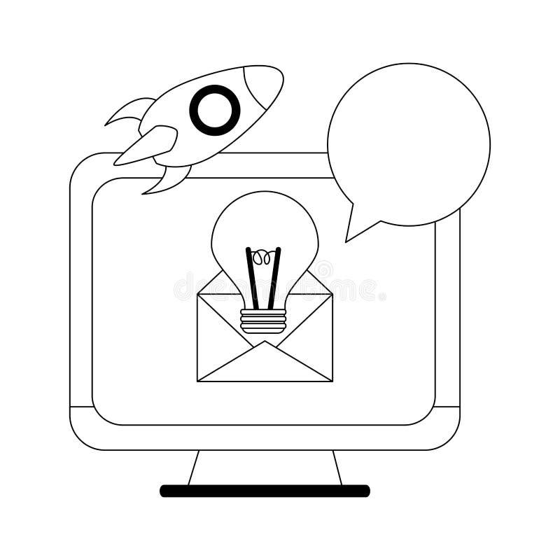Ekran komputerowy z dużym pomysłem w emailu i zaczyna w górę czarny i biały royalty ilustracja