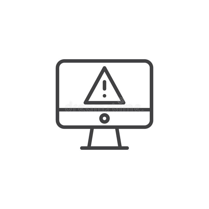 Ekran komputerowy z ostrzeżenia ostrzeżenia konturu wirusową ikoną ilustracja wektor