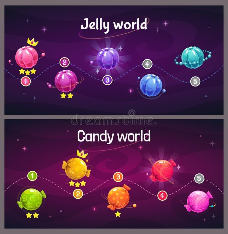 Ekran postępu poziomu gier Mapa kosmiczna z galaretką i cukierkami ilustracja wektor