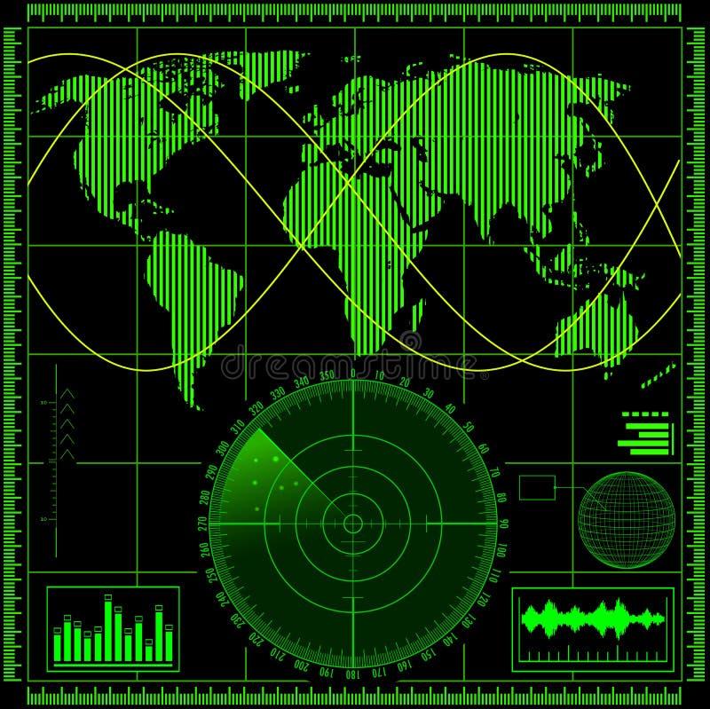 Ekran radaru z światową mapą ilustracji
