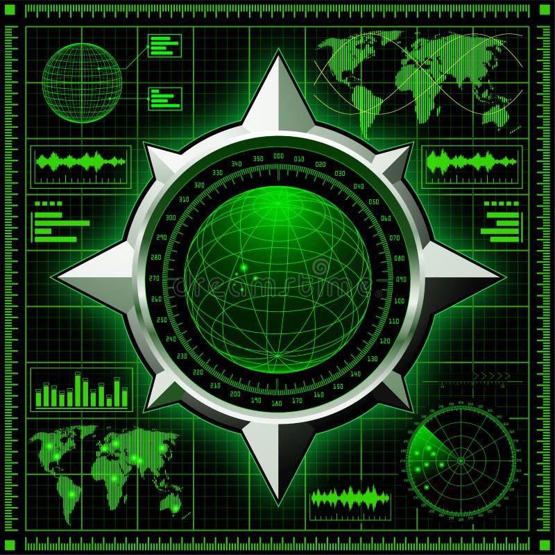 Ekran radaru z kulą ziemską ilustracja wektor