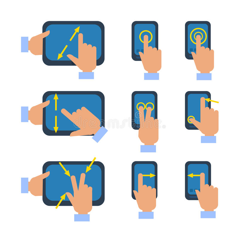 Ekran sensorowy gestykuluje ikony ustawiać ilustracji