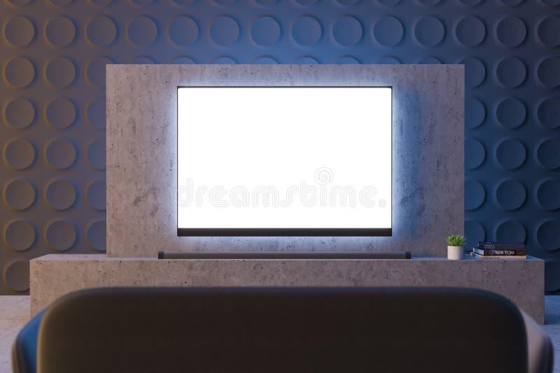 Ekran telewizyjny w ciemnoszarym salonie ilustracji