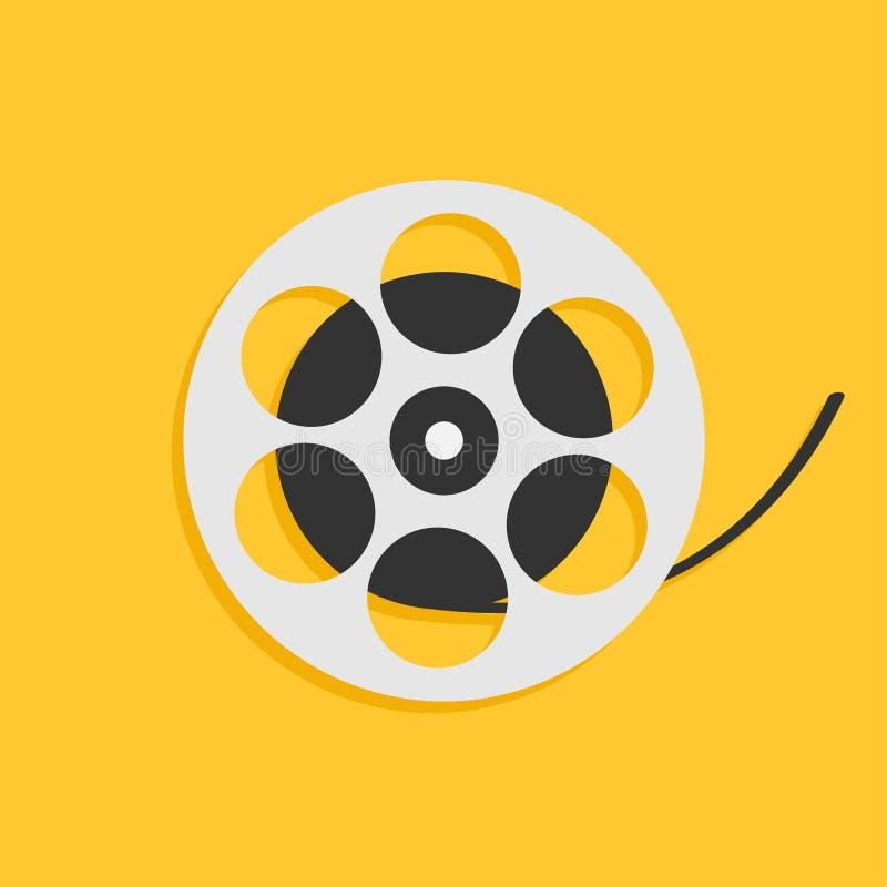 Ekranowa film rolka Kocham kinową ikonę Płaski projekta styl Żółty tło odosobniony ilustracja wektor
