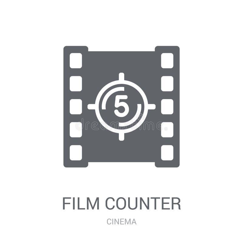 Ekranowa odpierająca ikona Modny filmu kontuaru logo pojęcie na białym bac royalty ilustracja