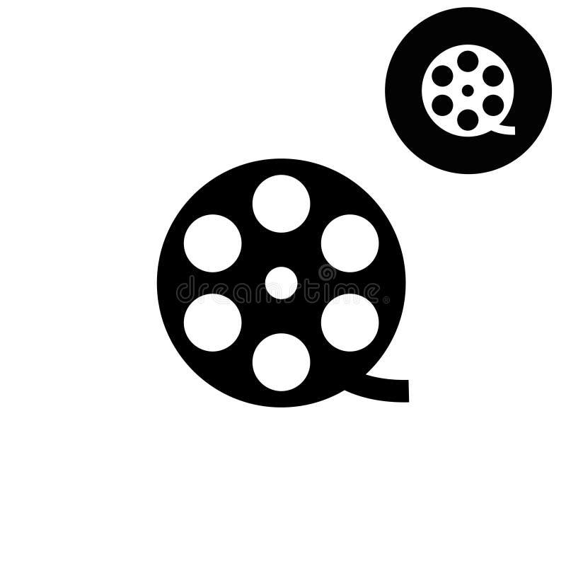 Ekranowa rolka - biała wektorowa ikona ilustracja wektor